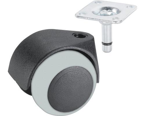 Roulette pivotante double pour appareils de transport, jusqu''à 30 kg, 40 x 57 x 8 mm-0