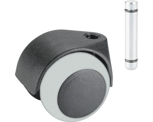 Roulette double pour appareils de transport, jusqu'à 40 kg, 50 x 61 mm