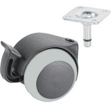 Roulette double pour appareils de transport, jusqu''à 30 kg, 40 x 57 mm-thumb-0