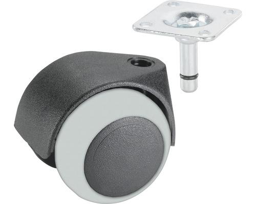 Roulette double pour appareils de transport, jusqu'à 40 kg, 50 x 64 mm