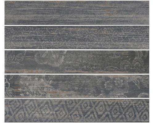 Carrelage de sol en grès-cérame fin Skagen noir émaillé 15x90cm