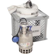 Kit pompe submersible pour débordement et inondation Nowax STPN 600 y compris panier de support/filtration avec couvercle verrouillable et tuyau C 15 m (lance à incendie)