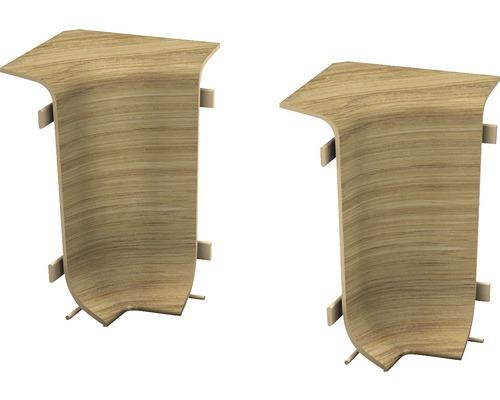 Angles intérieurs pour plinthe goulotte à clipser chêne rustique 50 mm-0