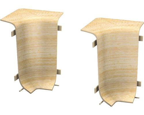 Angles intérieurs pour plinthe goulotte à clipser érable 50 mm-0