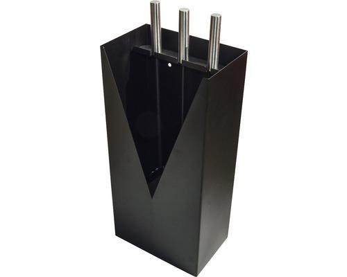 Serviteur de cheminée tendance 3 pièces noir à poser ou fixer au mur