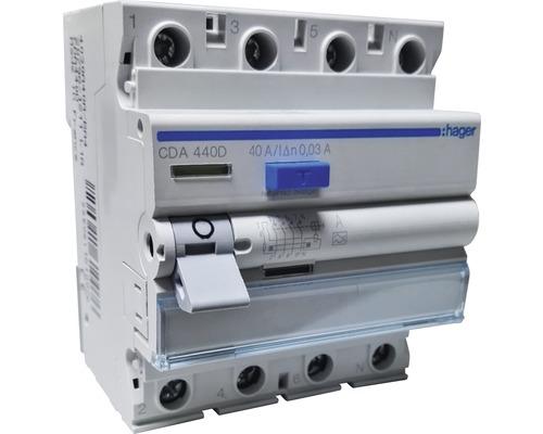 Disjoncteur différentiel Hager interrupteur FI 6kA 40A 30mA 4 pôles type A CDA440D