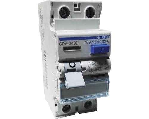 Disjoncteur différentiel Hager interrupteur FI 6kA 40A 30mA 2 pôles type A CDA240D