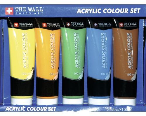 Ensemble de 5 tubes de peinture acrylique, bleu, orange, vert, jaune, marron, 100 ml
