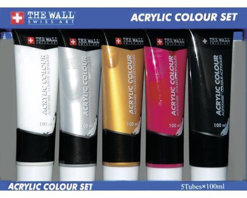 Ensemble de 5 tubes de peinture acrylique, blanc, rouge, or, argent, noir, 100 ml