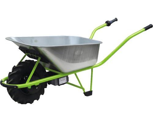 Brouette à moteur électrique CAPITO 100 litres, cuve profonde, pneus à profil agraire, poignées en plastique inclus