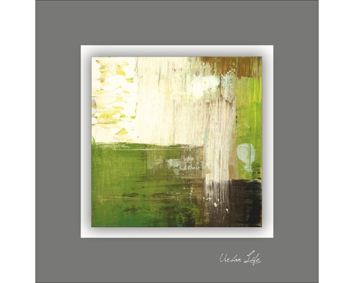 Tableau en métal Green Fields III 50x50 cm