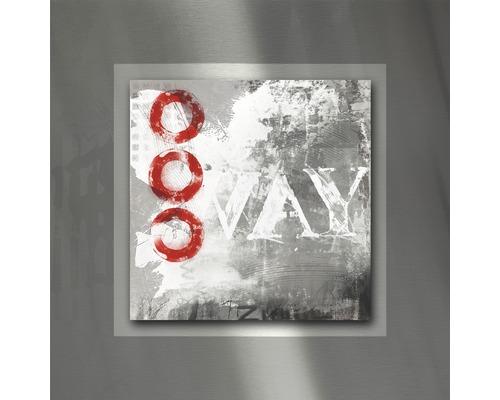 Tableau en métal Red Circle II 50x50 cm