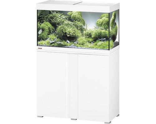Kit complet d'aquarium EHEIM Vivaline 126 LED avec éclairage à LED, chauffage, filtre et meuble bas blanc