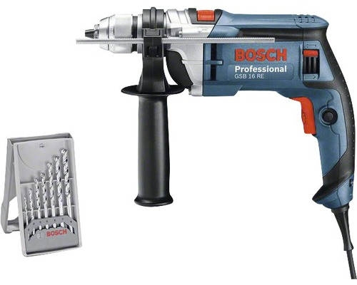 Perceuse à percussion Bosch Professional GSB 16 RE avec poignée supplémentaire et coffret de transport