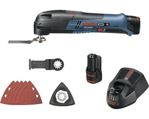 Akku-Multifunktionswerkzeug Bosch GOP 10,8 V-LI (2,0 Ah) inkl. 2 Akkus, Sägeblätter, Schleifplatte und Schleifpapier