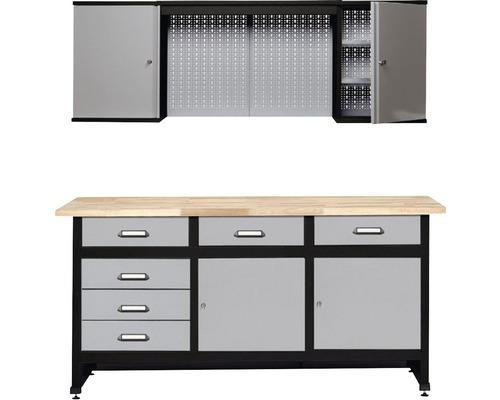Werkstatt-Set Küpper grau 1700mm bestehend aus Werkbank und Hängeschrank mit Lochwand