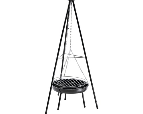Barbecue suspendu au charbon de bois réglable en hauteur brasero émaillé noir Ø 50 H 162 cm