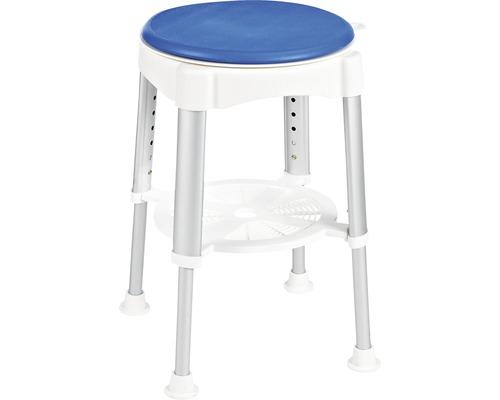 Siège de bain bleu avec surface du siège rotative et réglable en hauteur