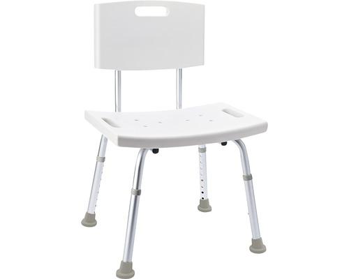 Chaise de bain avec dossier blanc réglable en hauteur