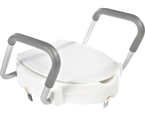 Rehausseur pour WC avec couvercle et aide au lever, blanc