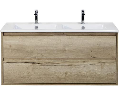 Ensemble de meubles de salle de bains Porto 120 cm avec double vasque céramique chêne nature 84719227