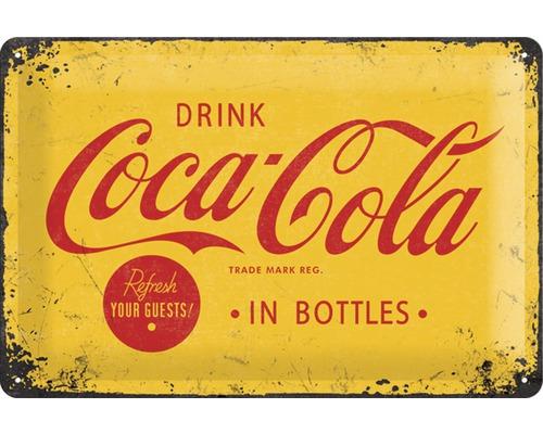 Plaque en métal Coca Cola Logo Yellow 20x30 cm