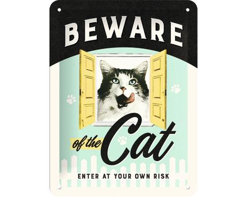 Plaque en métal Beware of the Cat 15x20 cm
