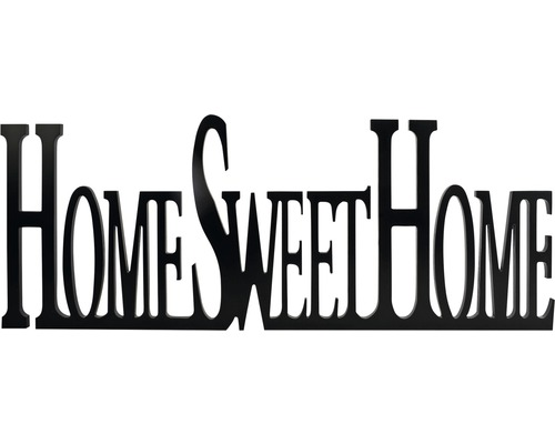 Décoration murale inscription Sweet Home, noir, 29x76 cm