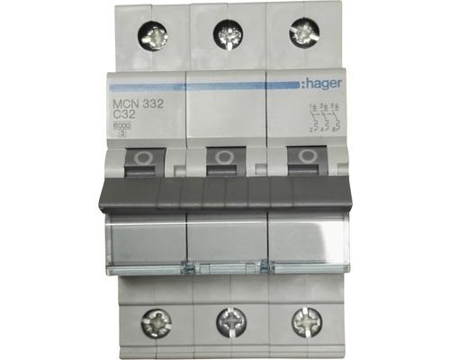 Disjoncteur Hager MCN332 32A C 3 pôles