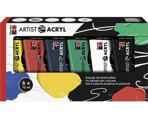 Lot de peinture acrylique pour artiste Marabu Artist Acryl 6x 75ml
