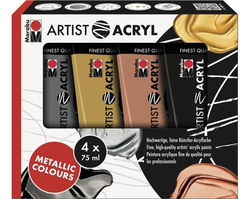 Lot de peinture acrylique pour artiste Marabu Metallic Colours Artist Acryl 4x 75 ml