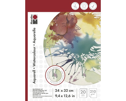 Bloc de dessin Marabu pour dessins à l''aquarelle 24x32 cm