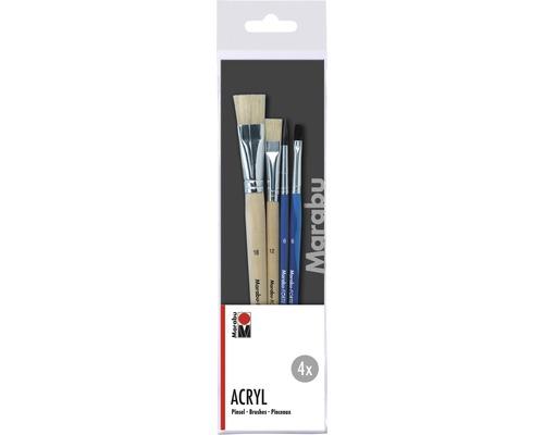 Kit de pinceaux pour artistes Marabu Acryl 4pièces
