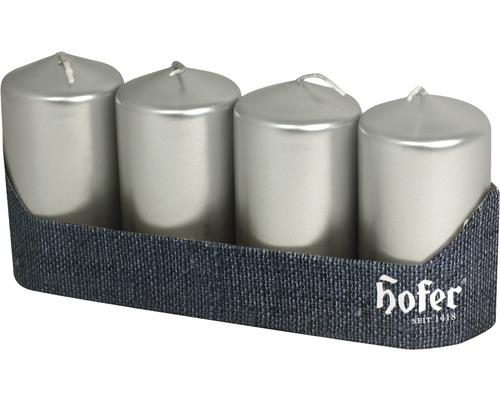 Bougie pilier 40x80 mm argent 4 pces