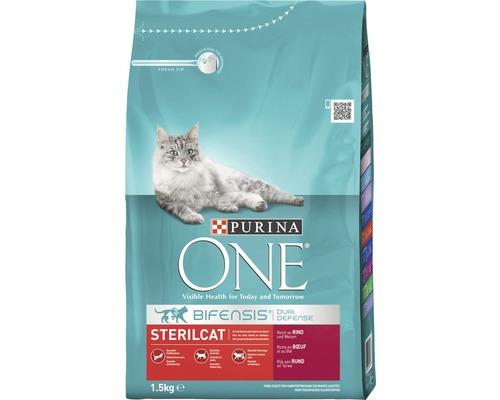 Nourriture sèche pour chats, Purina ONE STERILCAT bœuf et blé, 1,5 kg