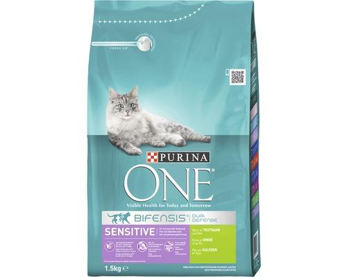 Nourriture sèche pour chats, Purina ONE SENSITIVE dinde, 1,5 kg