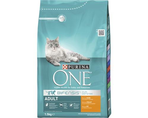 Nourriture sèche pour chats, Purina ONE ADULT poulet et blé complet, 1,5 kg