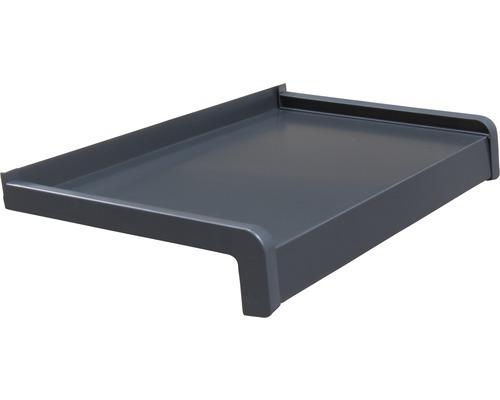 Fensterbank Alu grau 255x22,5 cm inkl. Kunststoff-Seitenabschluss (re+li) und Montageschrauben