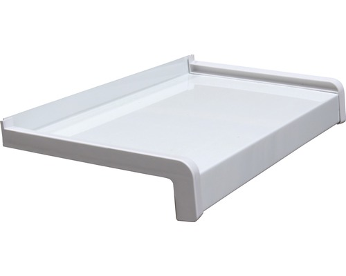 Fensterbank Alu weiß 205x16,5 cm inkl. Kunststoff-Seitenabschluss (re+li) und Montageschrauben