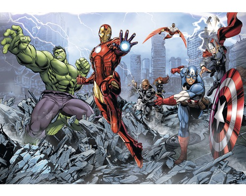 Papier peint photo papier marvel super h ros 254 x 184 cm - Papier peint super heros ...