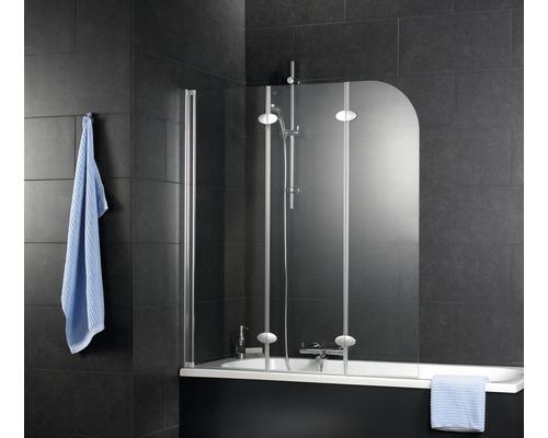 Pare-baignoire Schulte 3 parties verre véritable transparent clair alu nature