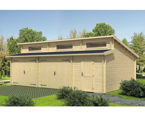 Garage double Hawaii porte en bois avec espace outill 780x520cm naturel