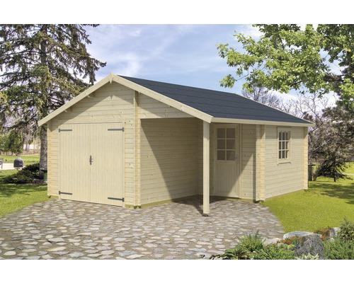 Garage simple Nevis porte en bois 500x550cm naturel